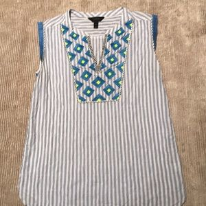 Jcrew blue and white embroidered sleeveless tunic